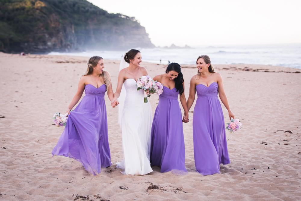 bridemaids walking towards camera