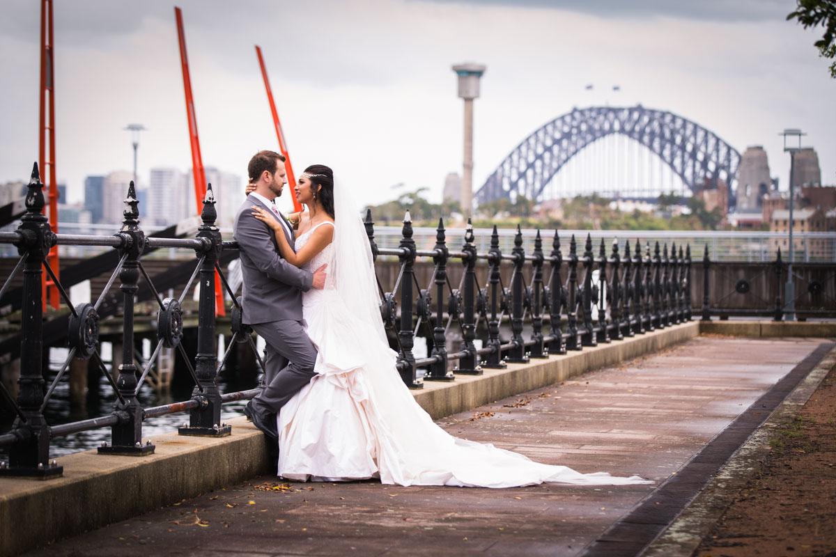 Elegant wedding photograph in front of harbour bridge
