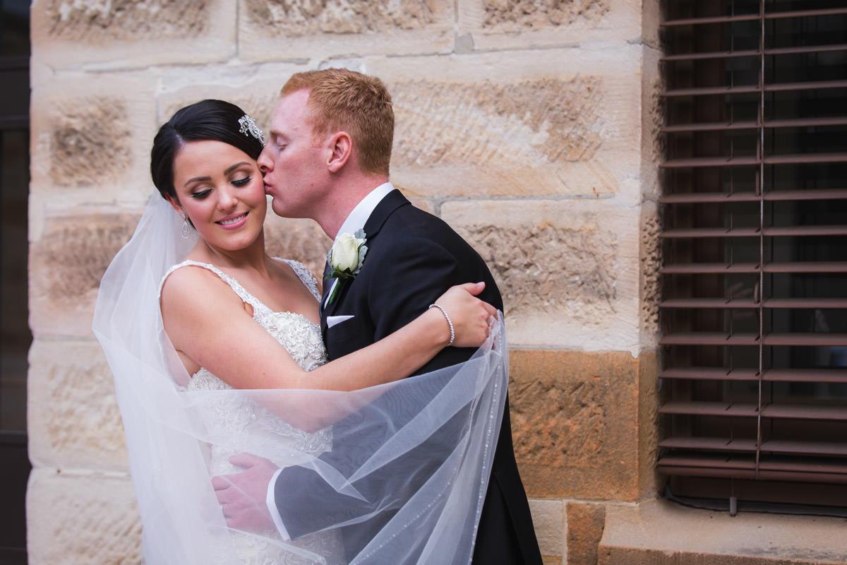 romantic wedding photo of bride and groom