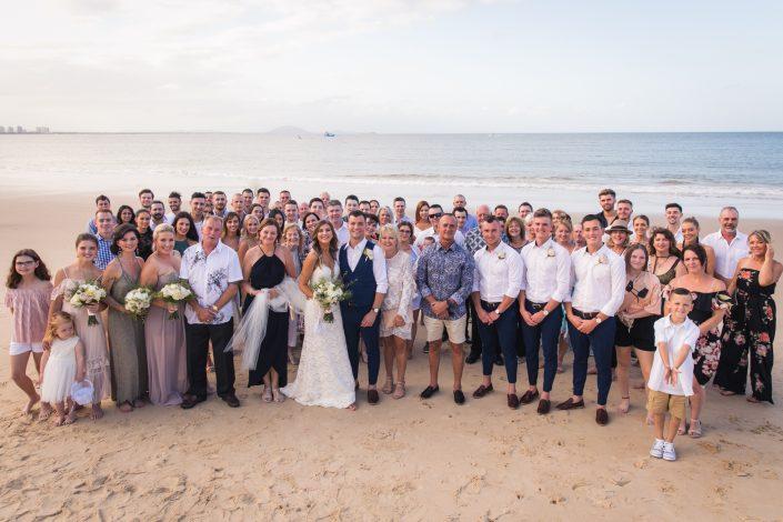 group photo of everyone at wedding