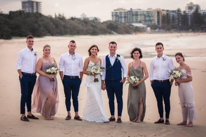 bridal party photo at wedding in sunshine coast