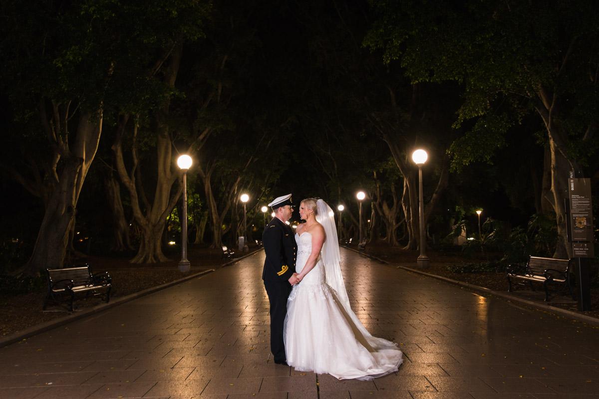 night wedding photograph of bride and groom