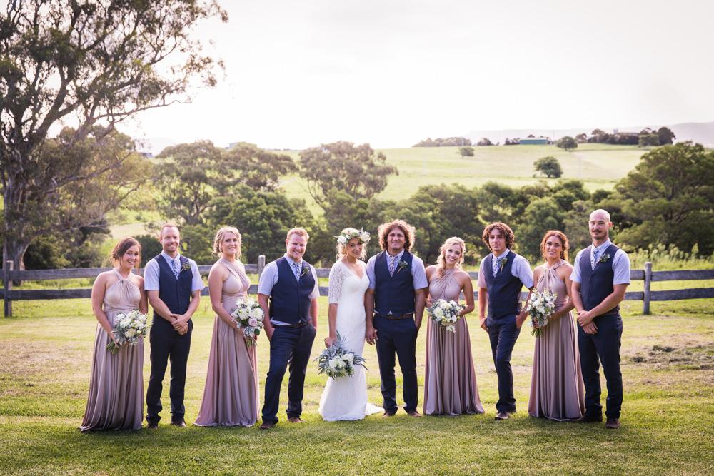 full bridal party shot at country wedding