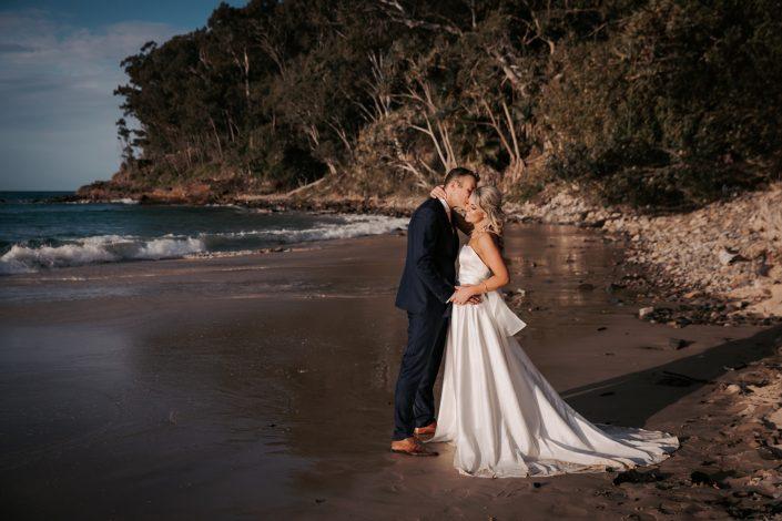 Beautiful wedding portrait on beach