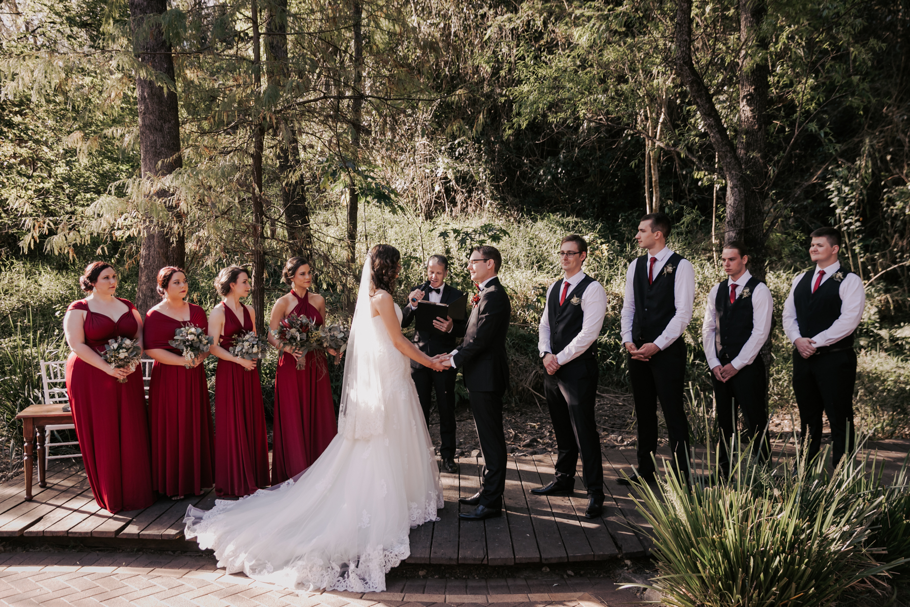 wide shot of bridal party