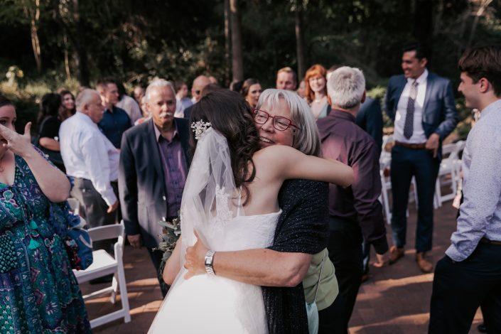 Guest congratulating bride