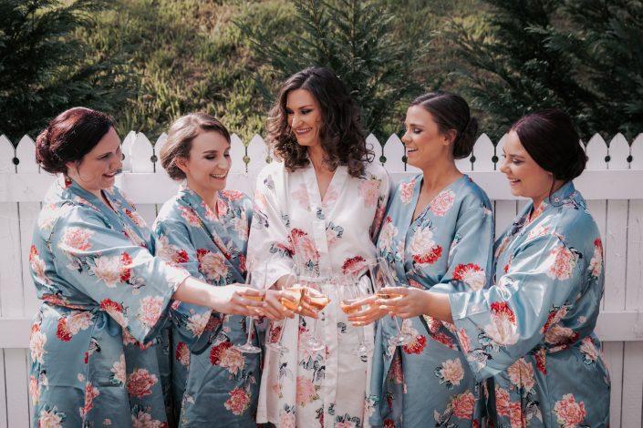bridesmaids having a wine
