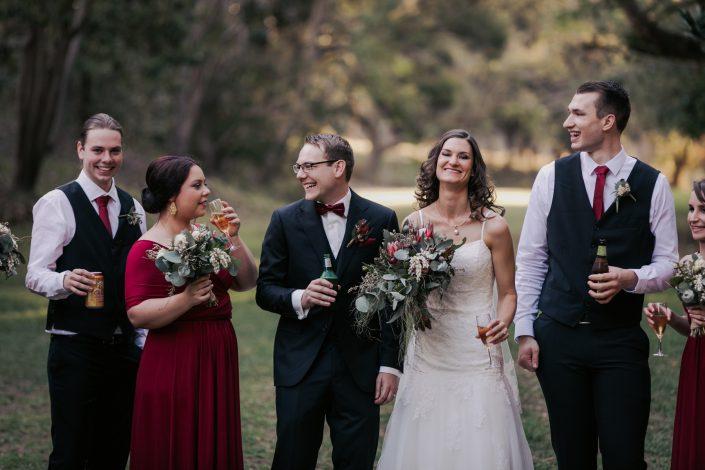 fun bridal party photo at wedding