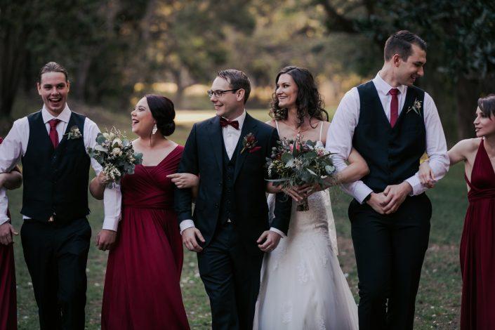 bridal party fun photo at wedding