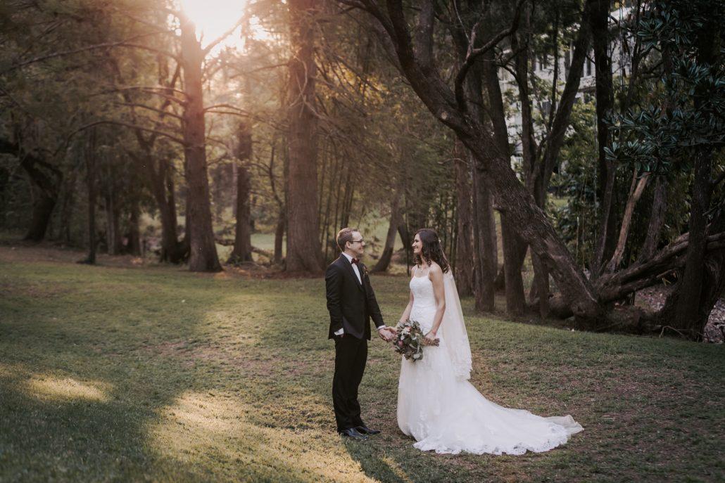 bride and groom portrait at wedding