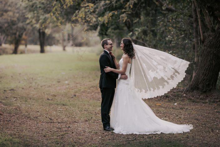 brides veil flowing in wind