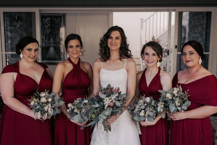group shot of bridesmaids before wedding