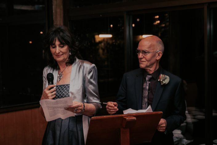 Mum and dad makes speech at wedding