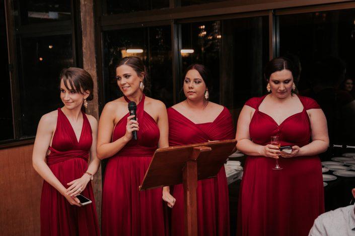 bridesmaids making speech at wedding