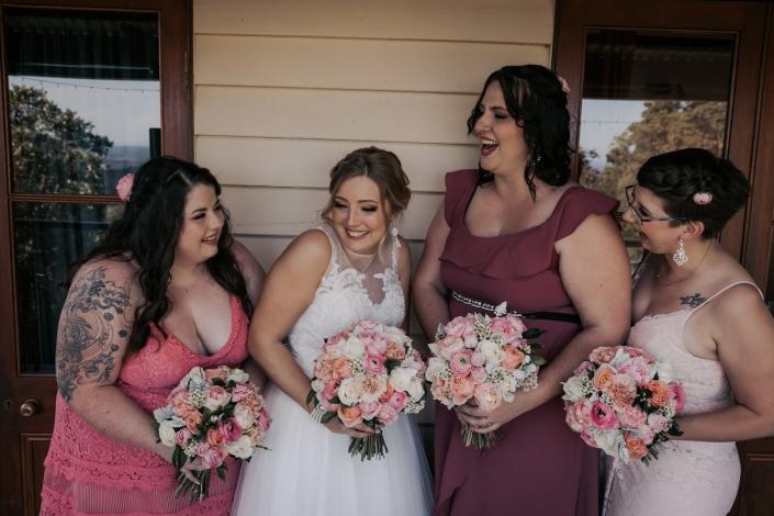 girls having fun before wedding