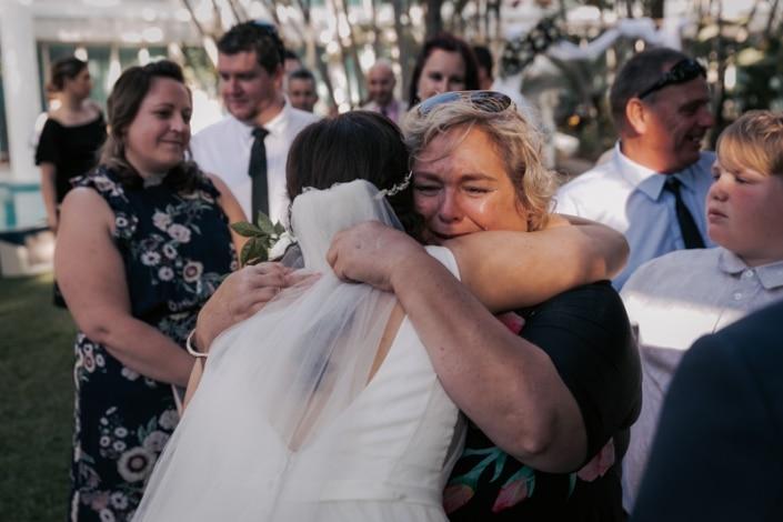 hugging after wedding